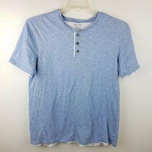 VINCE Pima Cotton Double Layer Henley Blue Shirt
